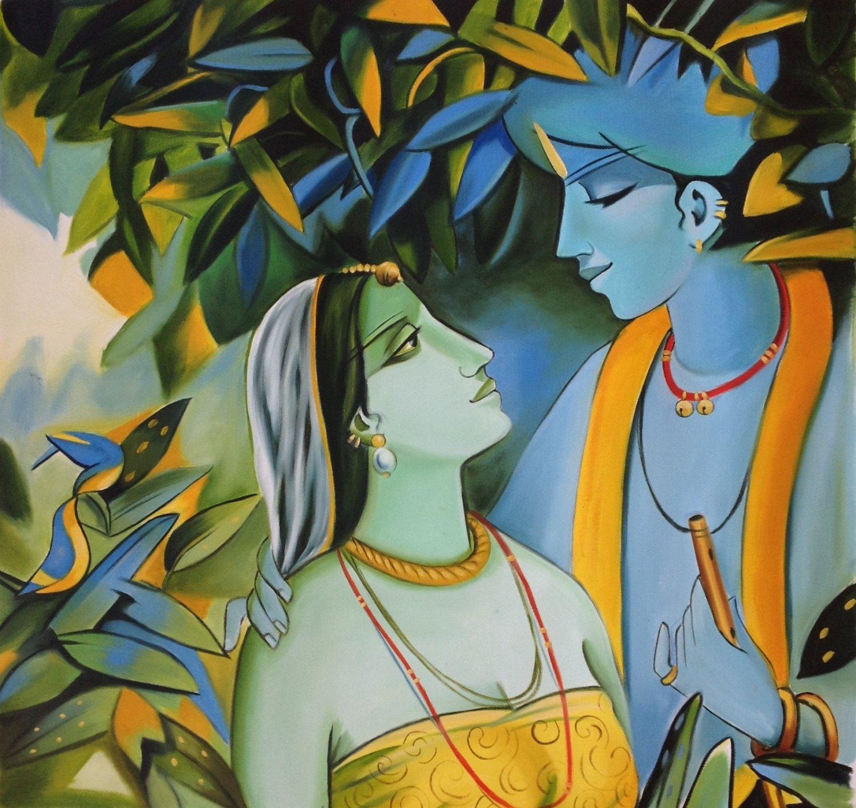 Krishna Radha Oil Painting Handmade Modern Hindu Religious God Goddess Artwork