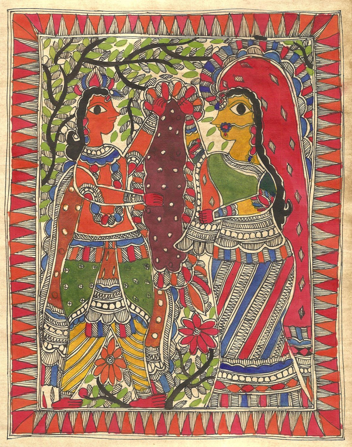 Madhubani Indian Tribal Mithila Folk Painting Handmade Rama Sita Swayamvara Art