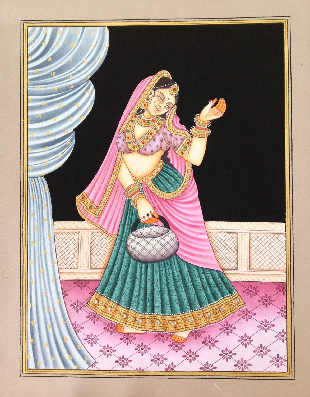 Indian Miniature Painting Handmade Rajasthani Beauty Nayika Damsel Embossed Art