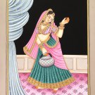 Indian Miniature Painting Handmade Rajasthani Beauty Nayika Damsel Embossed Art