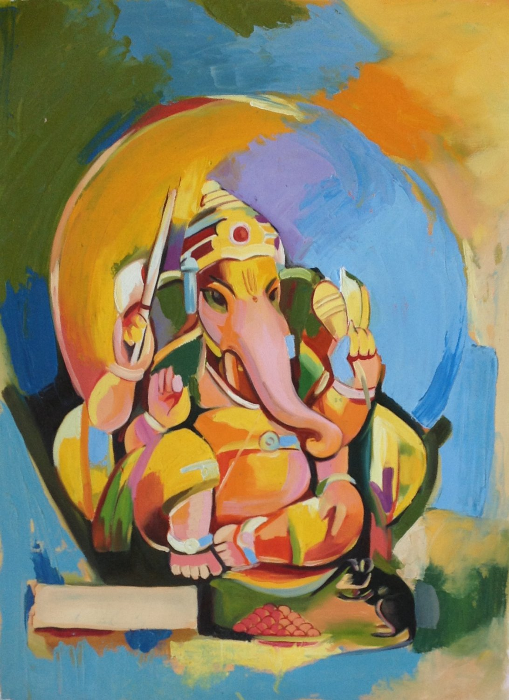 Ganesh Hindu Painting Handmade Ganesha Indian Religious Canvas Oil Ganpati Art