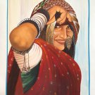 Rajasthan Village Belle Ethnic Painting Handmade Indian Folk Miniature Artwork