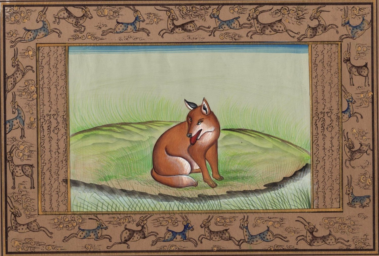 Indian Wild Fox Miniature Painting Handmade Illuminated Manuscript Animal Art