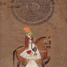 Rajasthani Equestrian Painting Handmade Indian Maharaja Miniature Portrait Art