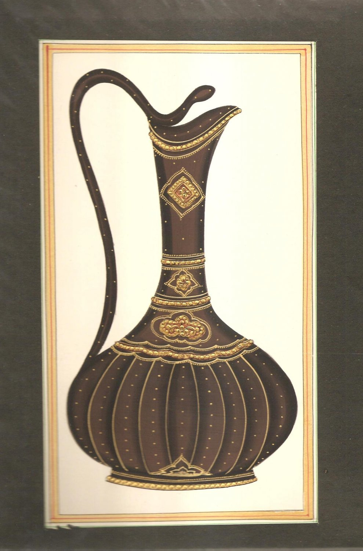 Rajasthani Miniature Art Handmade Surahi Wine Jug Decor Ethnic Paper Painting