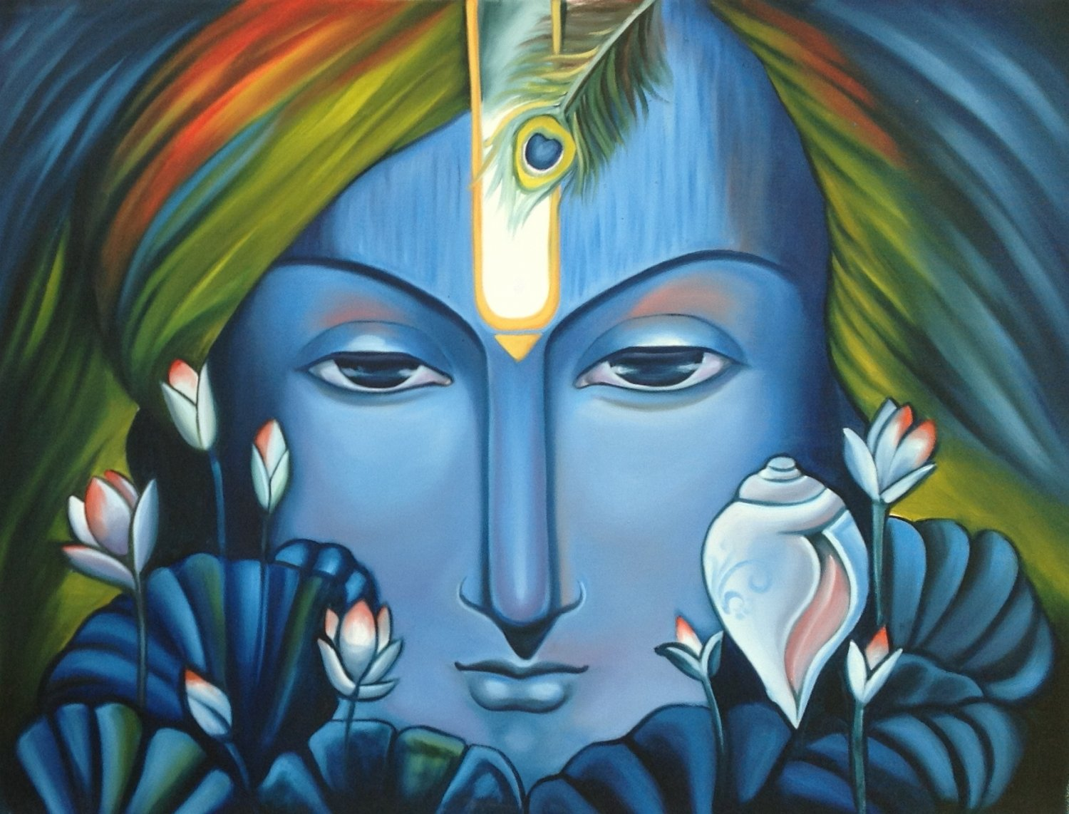 Krishna Art Handmade Indian Hindu Deity Portrait Oil on Canvas Decor Painting