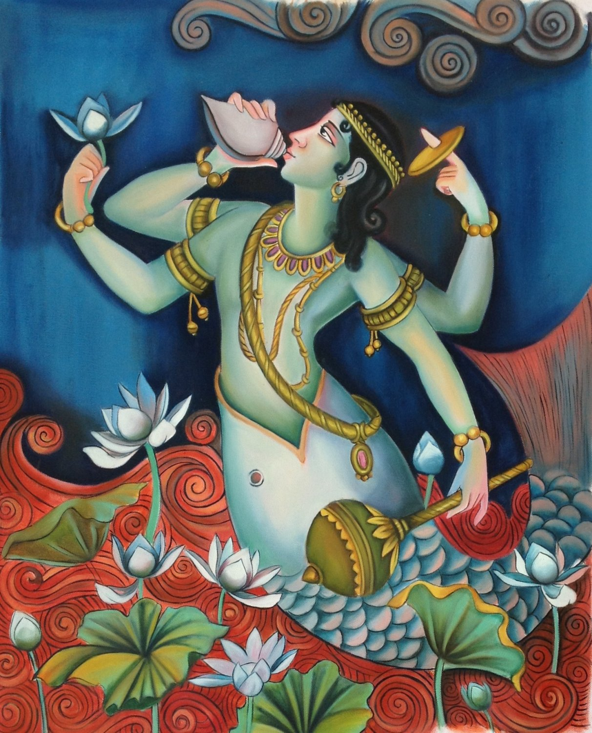 Matsya Art Handmade Vishnu Avatar Hindu Deity Indian Canvas Oil Decor Painting