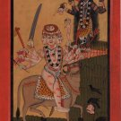 Indian Pahari Miniature Painting Adi Shakti Kali & Demon Raktabeej Folk Art