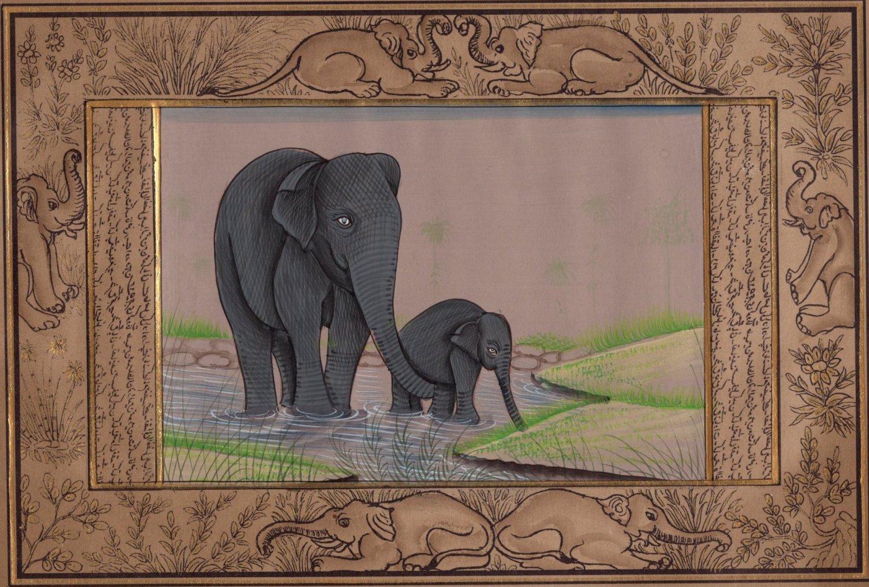 Indian Elephant Miniature Painting Handmade Illuminated Manuscript Animal Art
