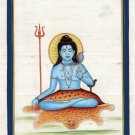 Mahadev Shiva Art Handmade India Hindu Deity Spiritual Silk Watercolor Painting