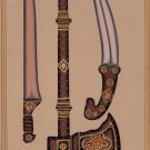Indo Islamic Arms Art Handmade Decorated Dagger Axe Sword Mughal Weapon Painting