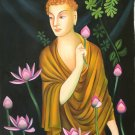 Buddha Painting Handmade Buddhist Oil on Canvas Indian Buddhism Wall Decor Art