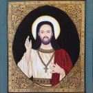 Tanjore Jesus Christ Painting Handmade Indian Thanjavur Christian Spiritual Art