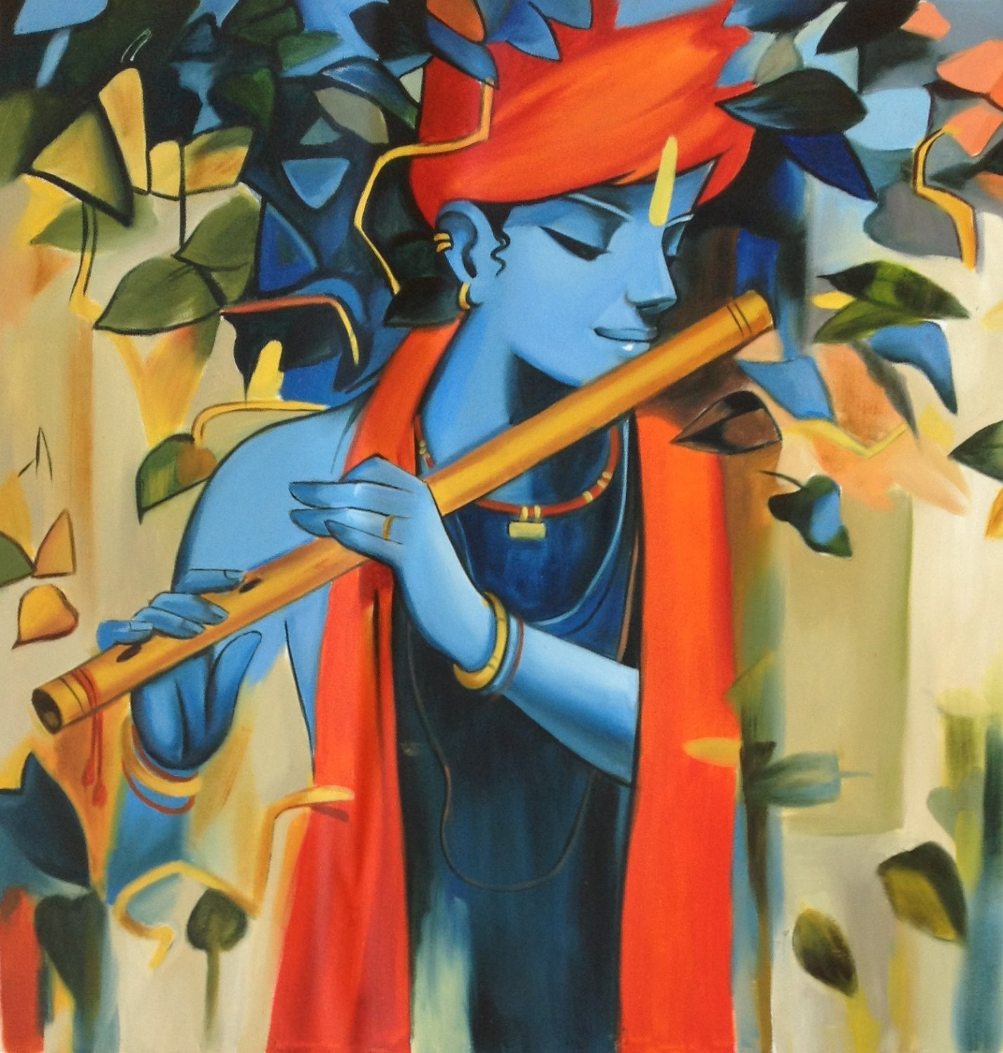 Trusted Home Painting Services In India: Krishna Hindu Deity Art Handmade Indian Portrait Oil On
