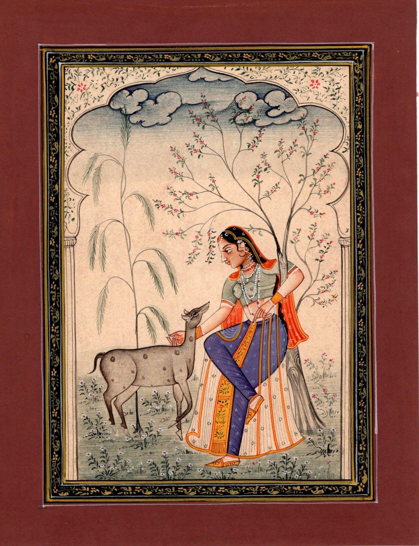 Rajasthan Ragini Ragamala Art Indian Handmade Miniature Ethnic Folk Painting