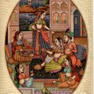 Mogul Indian Miniature Painting Handmade Watercolor Mughal Empire Harem Folk Art