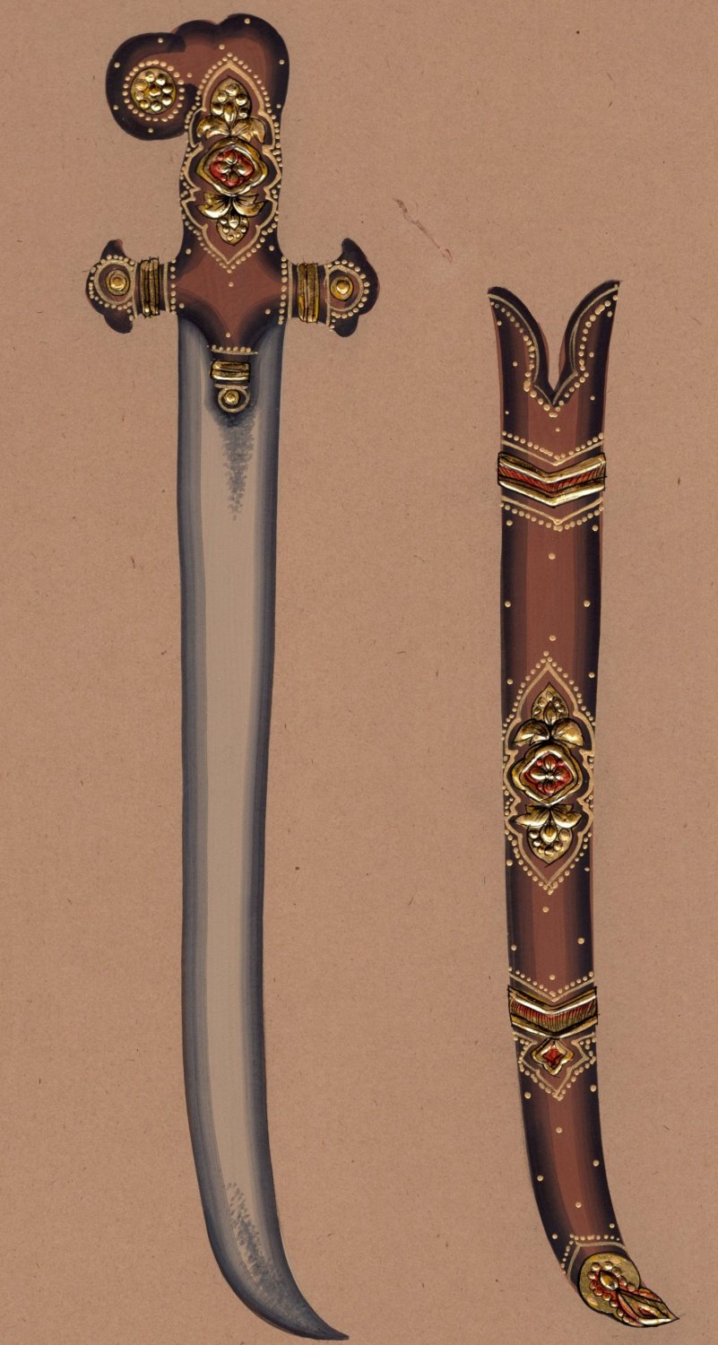 Indo Islamic Arms Painting Handmade Decorated Saber Schimitar Mughal Weapon Art