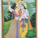 Lord Krishna Radha Painting Handmade Watercolor Hindu Religious God Goddess Art