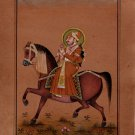 Indian Miniature Equestrian Portrait Painting Handmade Rajasthani Maharajah Art