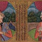 Mughal Miniature Art Jahangir & Nur Jahan Rare Handmade India Portrait Painting