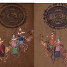 Rajasthani Indian Miniature Art Handmade Stamp Paper Ethnic Procession Painting