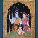 Tanjore Ganesha Shiva Parvati Art Handmade Indian Hindu Deity Thanjavur Painting