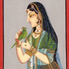 Rajasthan Indian Miniature Painting Handmade Rajput Ethnic Decor Portrait Art