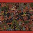 Rajasthani Miniature Painting Handmade Maharao Umed Singh of Kotah Hunt Folk Art
