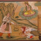 Shiva Painting Handmade Indian Miniature Hindu Deity Demon Religion Folk Art