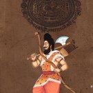 Parasurama Vishnu Avatar Art Handmade Stamp Paper Indian Hindu Deity Painting