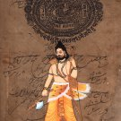 Vishnu Parasurama Avatar Art Handmade Indian Stamp Paper Hindu Deity Painting