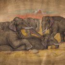 Indian Elephant Miniature Painting Handmade Nature Wild Life Animal Decor Art