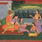 Indian Mogul Empire Miniature Art Handmade Watercolor Mughal Harem Folk Painting