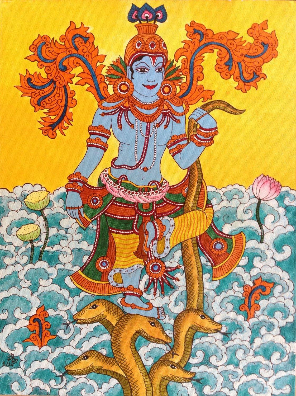 Kerala Mural Kaliya Mardanam Painting Handmade South Indian Hindu Krishna Art