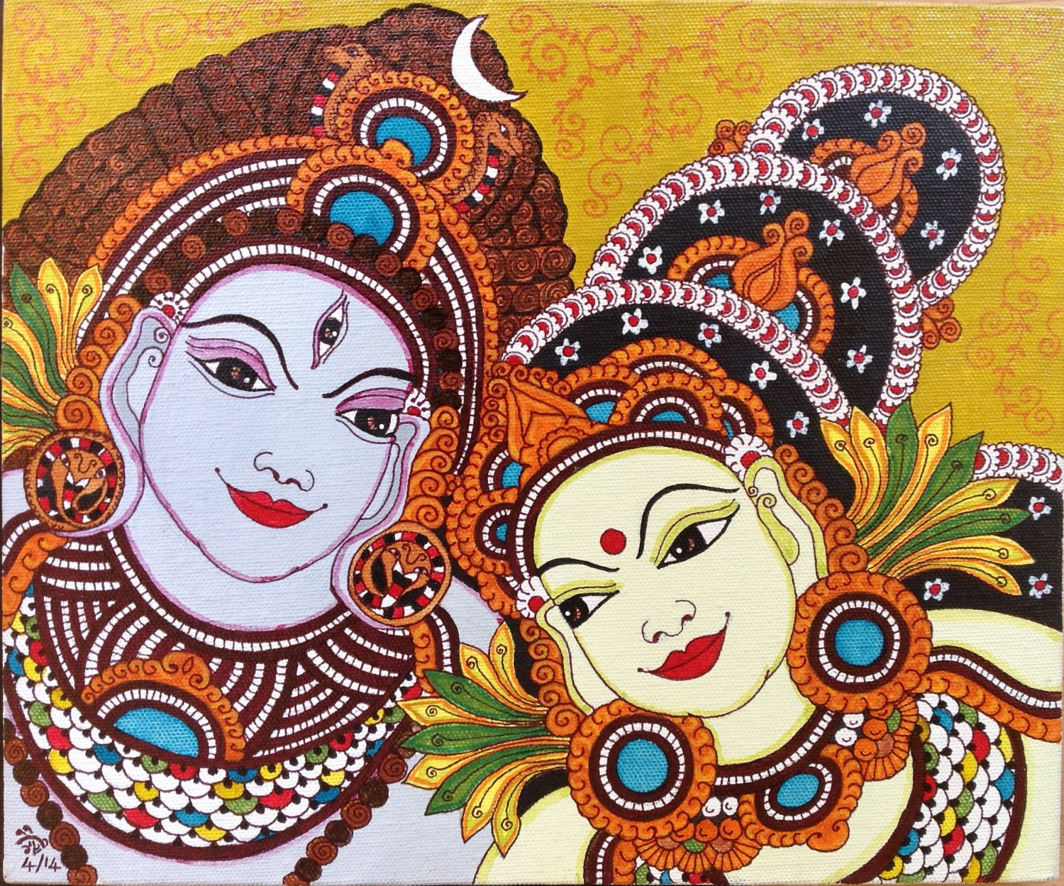 Kerala Mural Parvati Shiva Painting Handmade South Indian Hindu Ethnic Decor Art