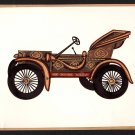 Rajasthani Miniature Car Art Handmade Indian Antique Automobile Decor Painting