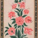 Mughal Lily Floral Painting Moghul Indian Handmade Miniature Flower Nature Art