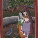 Krishna Radha Pahari Handmade Painting Indian Miniature Krsna Ethnic Folk Art