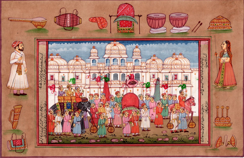 Rajasthan Miniature Painting Indian Ethnic Royal Emperor Procession Folk Artwork