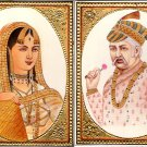 Emperor Akbar Empress Jodha Rare Mughal Miniature Art Royal Historical Painting