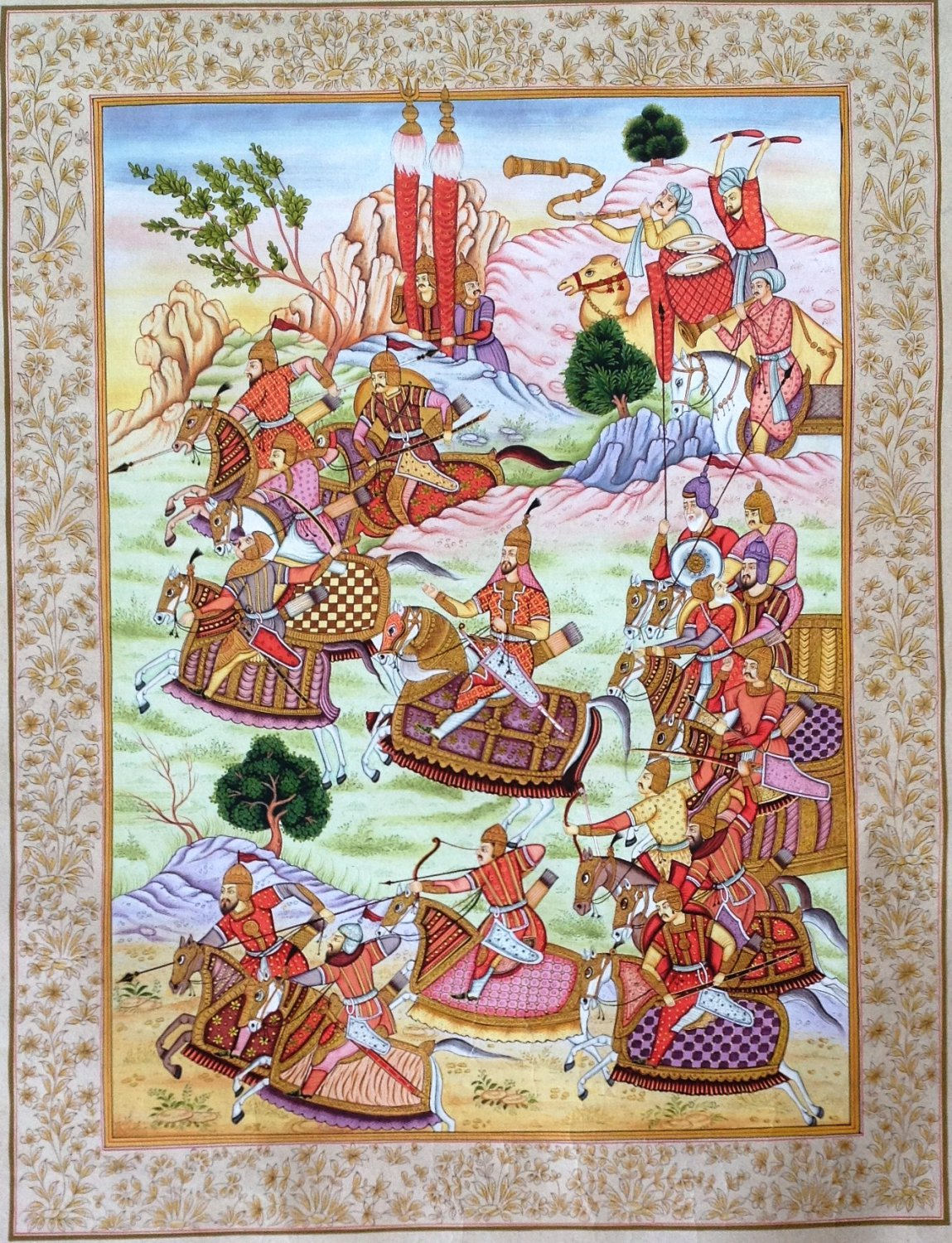 Mughal Painting Hand-Painted Miniature Babur Nama Moghul Empire Historical Art