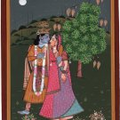 Krishna Radha Miniature Painting Hand Painted Hindu God Image Watercolor Artwork