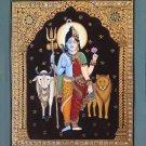 Tanjore Ardhanarishvara Artwork Handmade Indian Thanjavur Shiva Parvati Painting