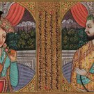 Mughal Miniature Painting Handmade Shah Jahan Mumtaz Mahal Portrait Moghul Art