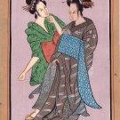 Indo Japanese Art Handmade India Japan Miniature Ethnic Folk Portrait Painting