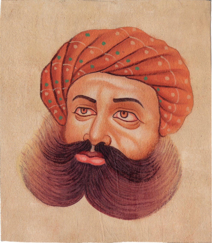 Rajasthani Turban Pagri Art Handmade Indian Rajput Miniature Portrait Painting