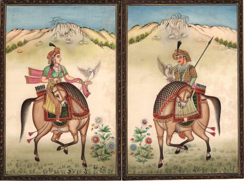 Mughal Dynasty Miniature Art Stunning Royal Moghul Equestrian Falconry Painting