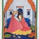 Krishna Radha Painting Hindu Religious God Goddess Handmade Watercolor Folk Art