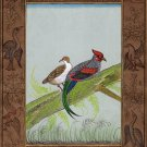 Indian Wild Hen Painting Handmade Nature Bird Ornithology Miniature Ethnic Art