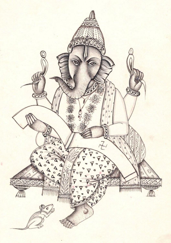 Ganesha Art Handmade Indian Hindu God Ganesh Ethnic Religion Ink Sketch Painting
